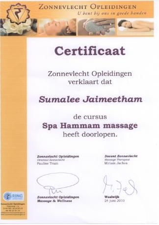 Diplom Hammam Massage Mandarin Spa Nimwegen Uden